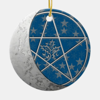Silver Crescent Moon & Pentacle Double-sided Round Ceramic Ornament
