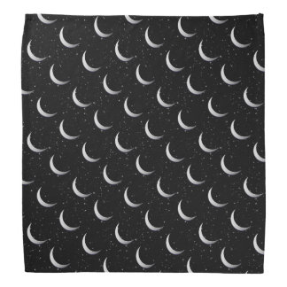 Silver crescent moons - starry background head kerchiefs