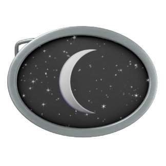 Silver crescent moons - starry background oval belt buckle