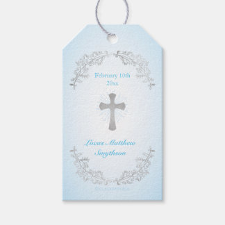 Silver Cross Blue Baptism Gift Tags Pack Of Gift Tags
