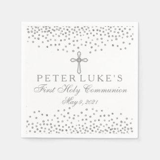 Silver Cross Confetti Communion Custom Napkin