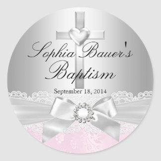 Silver Cross Lace Bow Baptism Sticker