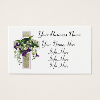 Silver Cross With Purple Flowers Business Card