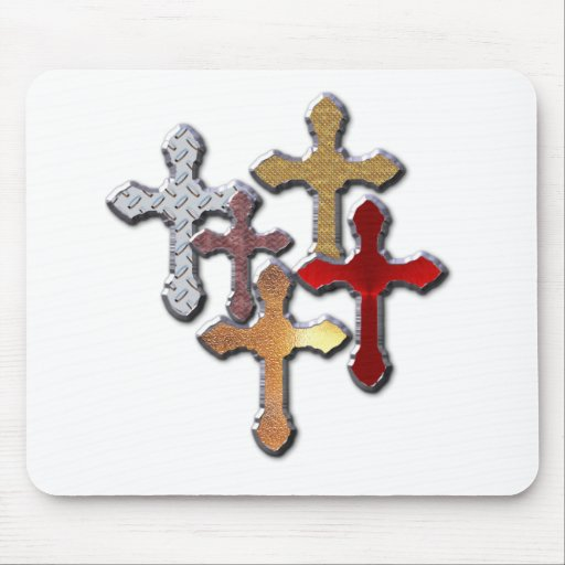 Silver Crosses Collage Various Designs Mousepads