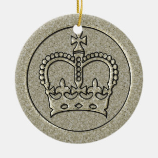 Silver Crown Ceramic Ornament