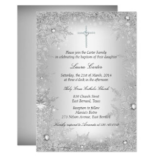 Silver Crystal Snowflake Baptism/Christening Card