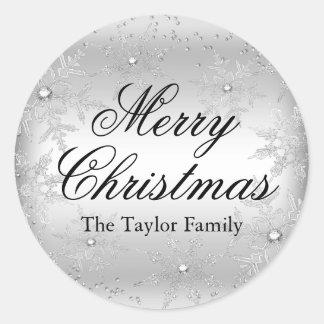 Silver Crystal Snowflake Christmas Sticker