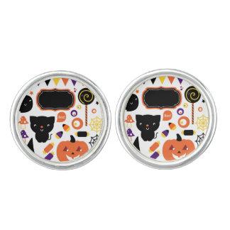 Silver cufflinks wih Halloween icons