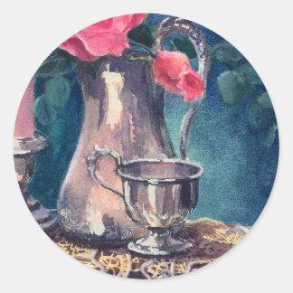 SILVER CUP & ROSEBUD by SHARON SHARPE Round Sticker