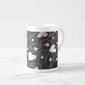 Silver curly hearts tea cup