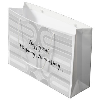 Silver Curvy Line  25th Silver Wedding Anniversary Large Gift Bag
