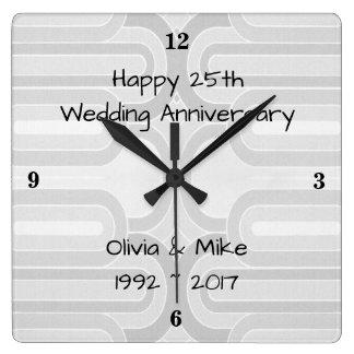 Silver Curvy Line  25th Silver Wedding Anniversary Square Wall Clock