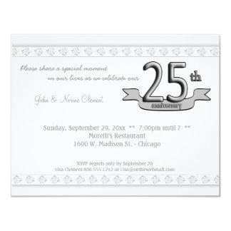 Silver Damask 25th Anniversary Celebration Invite