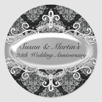 Silver Damask 25th Wedding Anniversary Sticker
