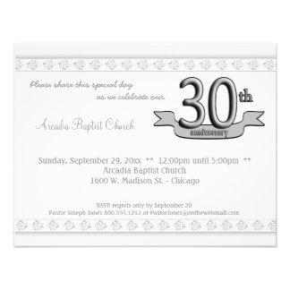 Silver Damask 30th Anniversary Celebration Invite