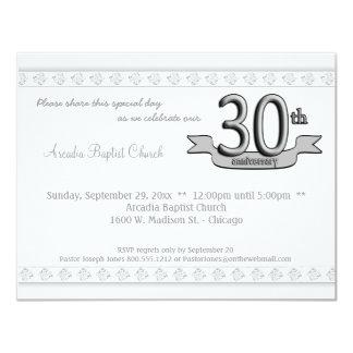 """Silver Damask 30th Anniversary Celebration Invite 4.25"""" X 5.5"""" Invitation Card"""
