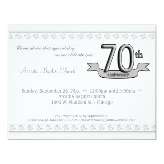Silver Damask 70th Anniversary Celebration Invite