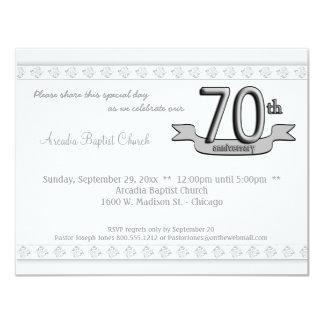 """Silver Damask 70th Anniversary Celebration Invite 4.25"""" X 5.5"""" Invitation Card"""