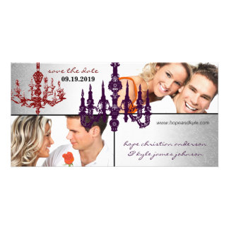 Silver Damask Chandelier Red & Plum Save The Date Customized Photo Card