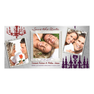 Silver Damask Chandelier Red & Plum Save The Date Photo Cards