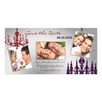 Silver Damask Chandelier Red & Plum Save The Date Picture Card