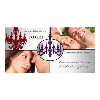 Silver Damask Chandelier Save The Date Photo Custom Photo Card