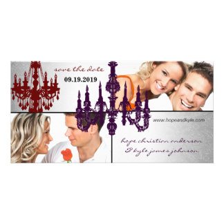 Silver Damask Chandelier Save The Date Photo Photo Card Template