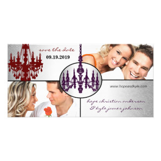 Silver Damask Chandelier Save The Date Photo Photo Cards