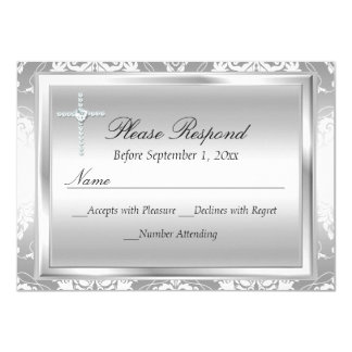 "Silver Damask & Cross Baptism RSVP Reply 4.5"" X 6.25"" Invitation Card"