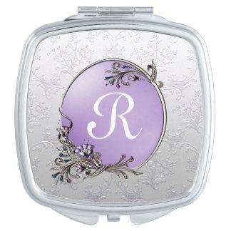 Silver Damask Monogram Compact Mirror