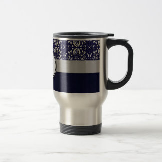 Silver Damask on Blue with Stripes and Monogram Travel Mug