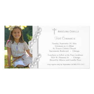 Silver Damask Pearls First Communion Photo Invite Personalized Photo Card