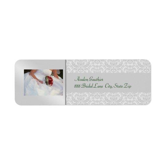 Silver Damask Rose Bridal Shower Address Label