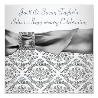 """Silver Damask Silver 25th Anniversary Party 5.25"""" Square Invitation Card"""