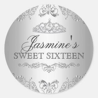 Silver Damask & Tiara Sweet 16 Sticker