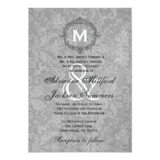 Silver Damask Vintage Frame Wedding Metallic Card