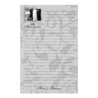 Silver Damask Wedding Anniversary Stationery