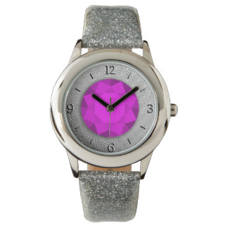 Silver Damask with a faux amethyst gemstone Wrist Watch