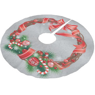 Silver Damask  with Christmas Wreath Brushed Polyester Tree Skirt