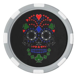 Silver Day of the Dead Poker Skull Chips