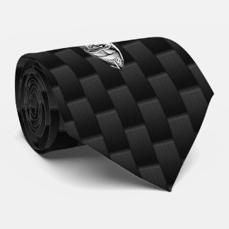 Silver Deer Buck on Carbon Fiber Style Decor Tie
