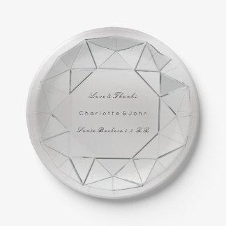 Silver Diamond Crystal  Gray Glam Wedding Vip Paper Plate