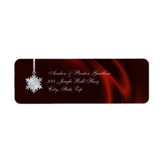 Silver Diamond Snowflake Red Silk Holiday Return Address Label
