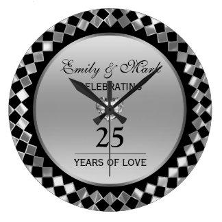 Silver Diamonds And Heart- 25th Anniversary Clock