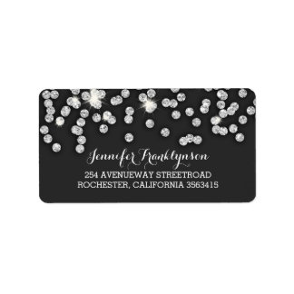 Silver Diamonds Glitter Wedding Label