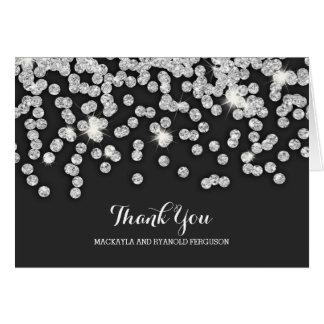 Silver Diamonds Wedding Thank You Card