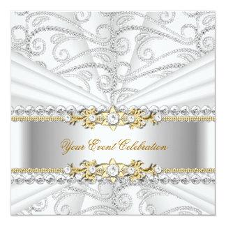 Silver Diamonds White Gold Elegant Birthday Party Custom Announcements