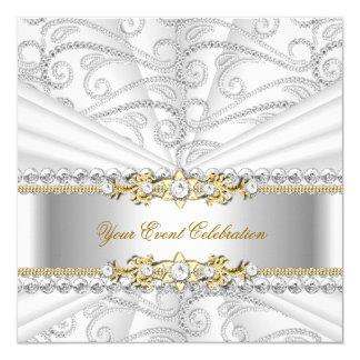 "Silver Diamonds White Gold Elegant Birthday Party 5.25"" Square Invitation Card"