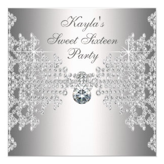 "Silver Diamonds White Sweet Sixteen Birthday Party 5.25"" Square Invitation Card"