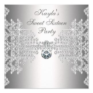"Silver Diamonds White Sweet Sixteen Birthday Party 5.25"" Square Invitation Card"